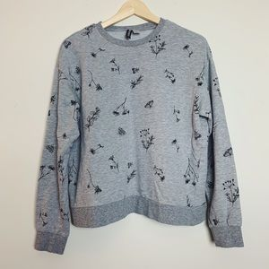 Gray Floral Lightweight Crewneck Sweatshirt M